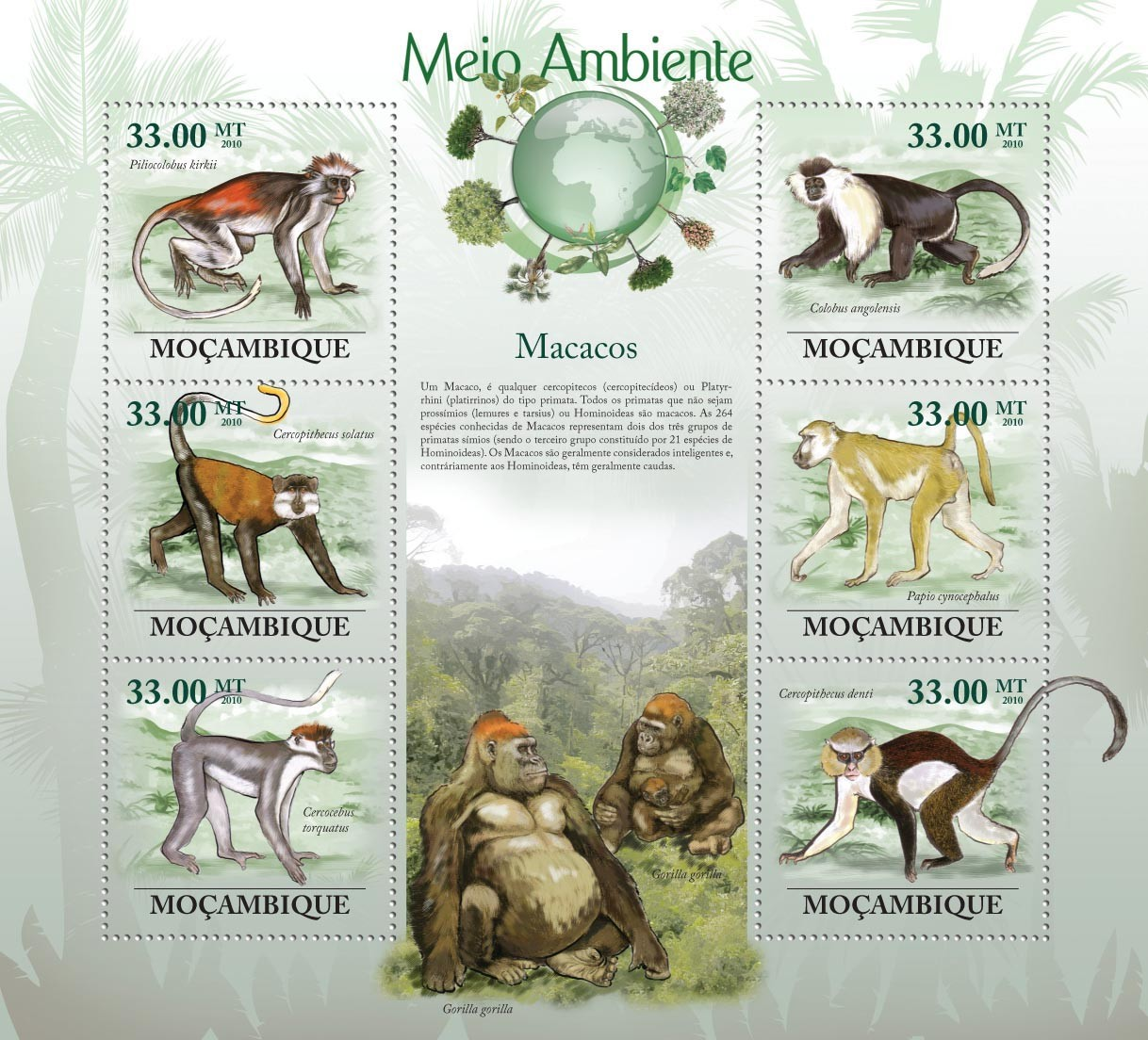 Macaques ( Piliocolobus kirkii, Cerropithecus solatus, Cercocebus torquatus, etc.) - Issue of Mozambique postage Stamps