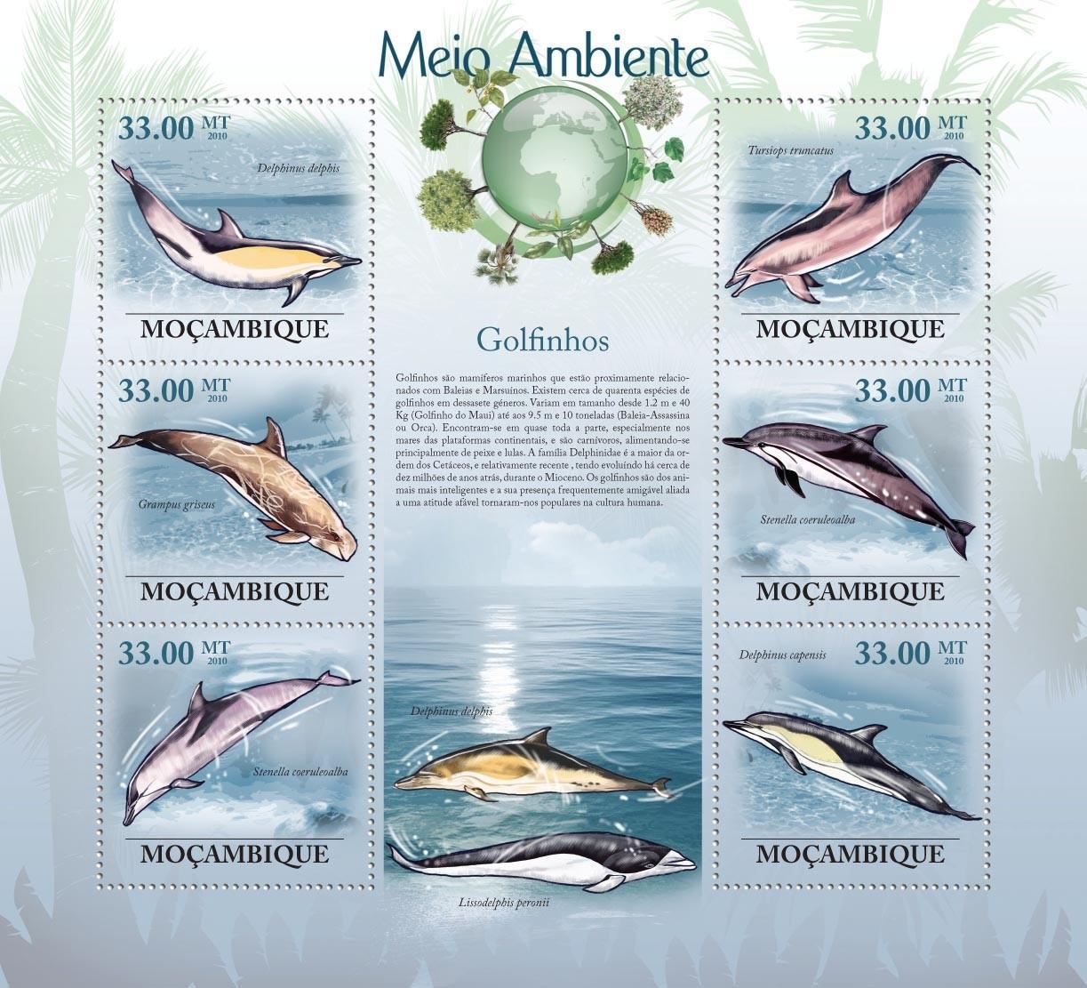 Dolphins ( Delphinus delphis, Grampus griseus, Stenella coeruleoalba, etc..) - Issue of Mozambique postage Stamps