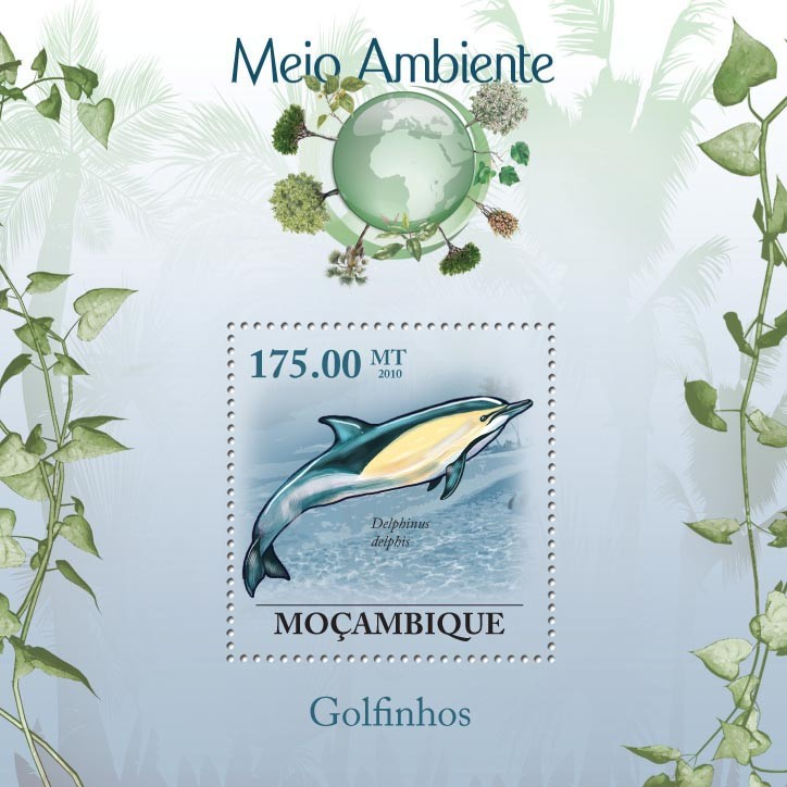 Dolphins ( Delphinus delphis ) - Issue of Mozambique postage Stamps