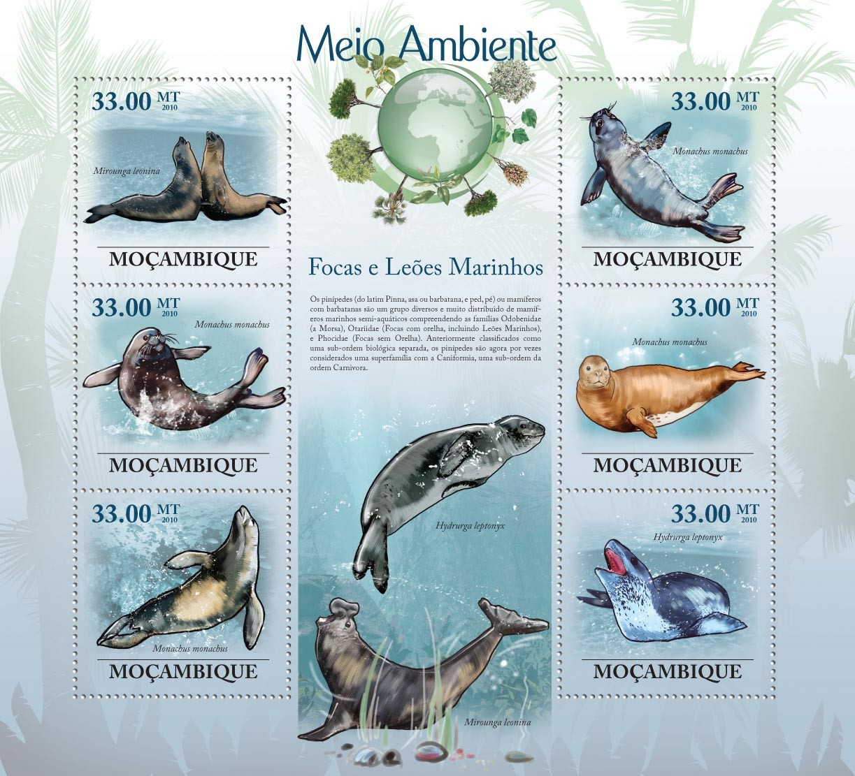 Seals & Sea Lions ( Mirounga leoniva, Monachus monachus, Hydrurga leptonyx ) - Issue of Mozambique postage Stamps
