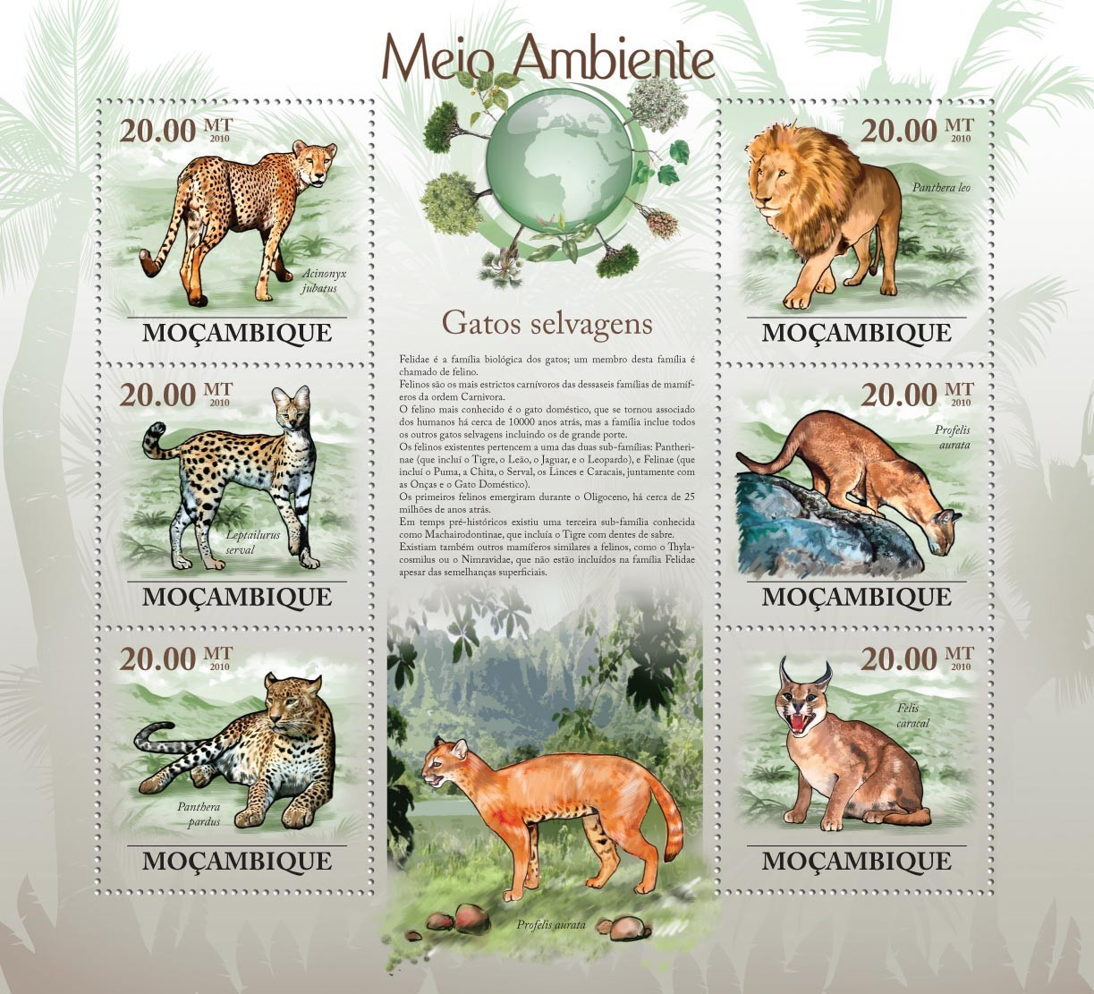 Wild Cats ( Acinonyx jubatus, Leptairurus serval, Panthera pardus, etc..) - Issue of Mozambique postage Stamps