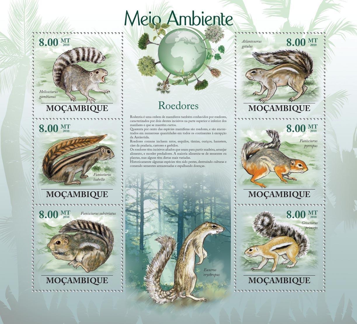 Rodents, ( Heliosciurus gambianus, Funisciurus isabella, Atlantoxerus getulus, etc.. - Issue of Mozambique postage Stamps