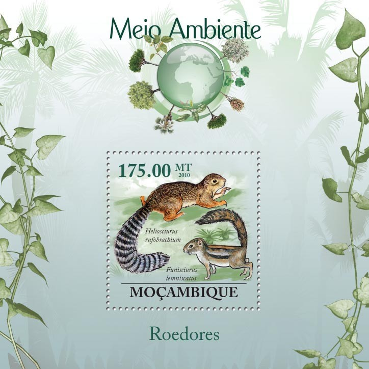 Rodents,  ( Heliosciurus rufobrachium, Funisciurus lemniscatus) - Issue of Mozambique postage Stamps