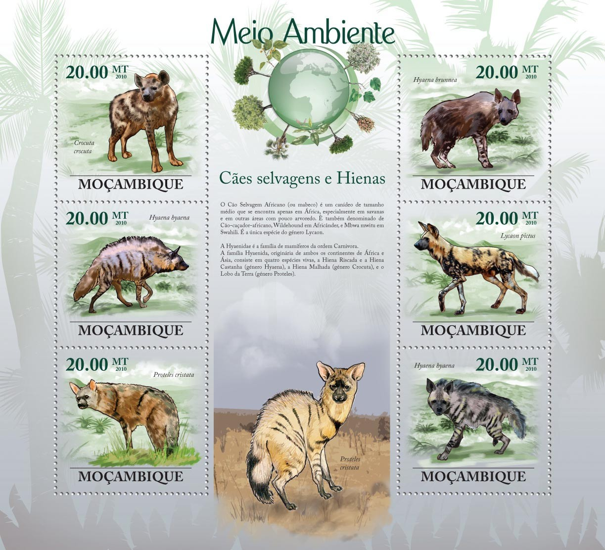 Wild Dogs & Hyenas,  ( Crocuta crocuta, Hyaena byaena, Lycaon pictus, Proteles cristata, etc..) - Issue of Mozambique postage Stamps