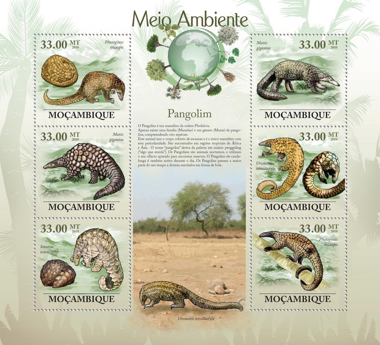 Pangolins,  ( Phataginus tricuspis, Manis gigantea, Smutsia temminckii, etc.. - Issue of Mozambique postage Stamps