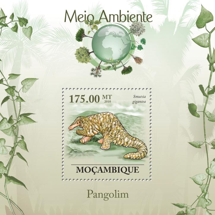 Pangolins, ( Smutsia gigantea ) - Issue of Mozambique postage Stamps