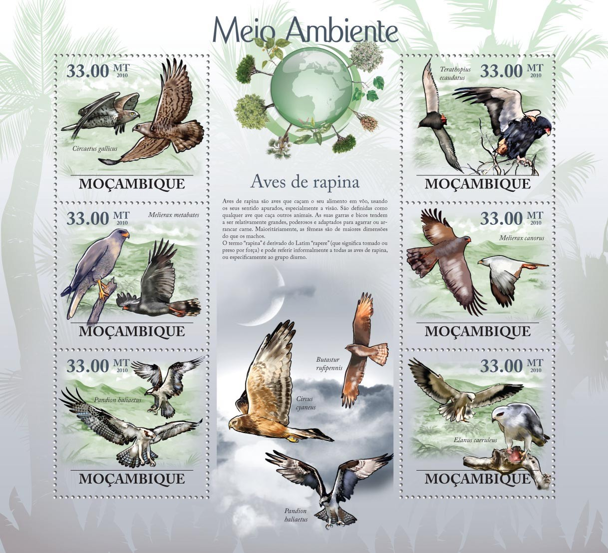 Raptors, ( Circaetus gallicus, Mielerax metabates, Pandion baliaetus, etc..) - Issue of Mozambique postage Stamps