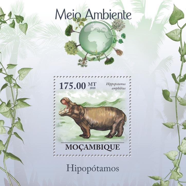 Hippopotames, ( Hippopotamus amphibius ) - Issue of Mozambique postage Stamps