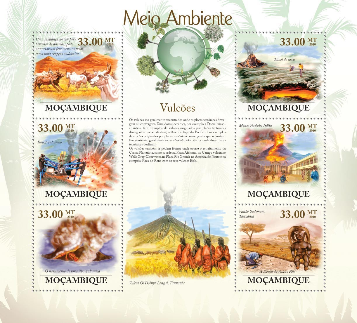 Volcanoes, ( Volcanoes of Tanzania, Italia, Disasters of Volcanoes ) - Issue of Mozambique postage Stamps