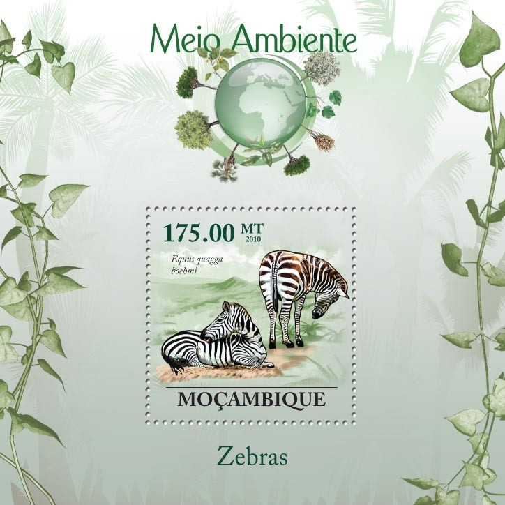 Zebras, ( Eguus quagga boehmi) - Issue of Mozambique postage Stamps