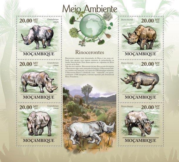 Rhinos (Ceratotherium simun & Diceros bicornis). - Issue of Mozambique postage Stamps