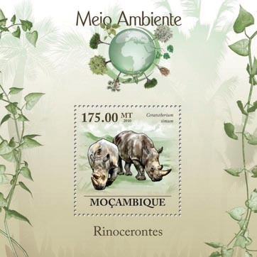 Rhinos (Ceratotherium simun). - Issue of Mozambique postage Stamps