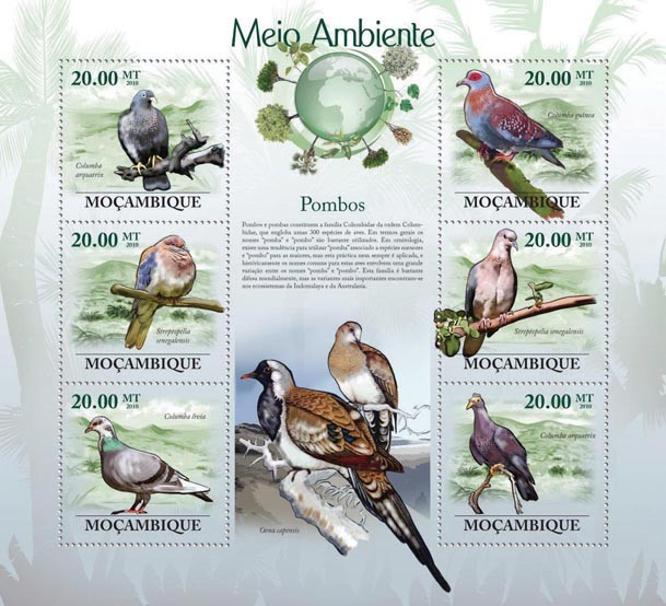 Pigeons (Columba arquatrix...) - Issue of Mozambique postage Stamps