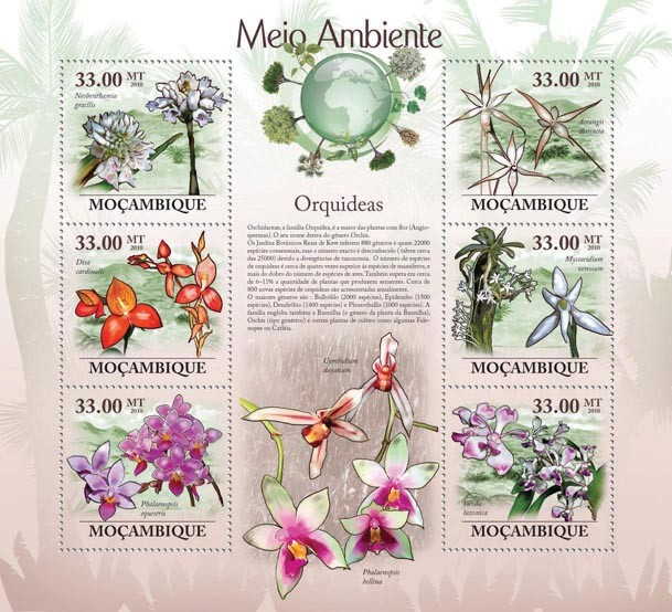 Orchids (Neobenthamia gracilis...) - Issue of Mozambique postage Stamps
