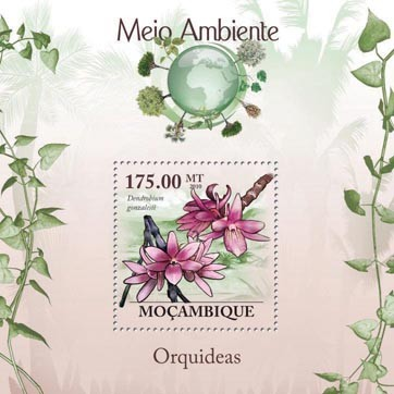 Orchids (Dendrobium gonzalesii). - Issue of Mozambique postage Stamps