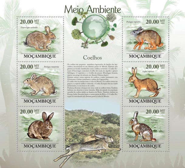Rabbits (Oryctolagus cuniculus...) - Issue of Mozambique postage Stamps