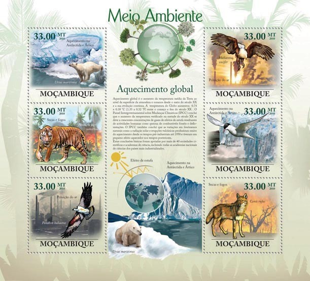 Global Warming (Animals & Birds) - Issue of Mozambique postage Stamps