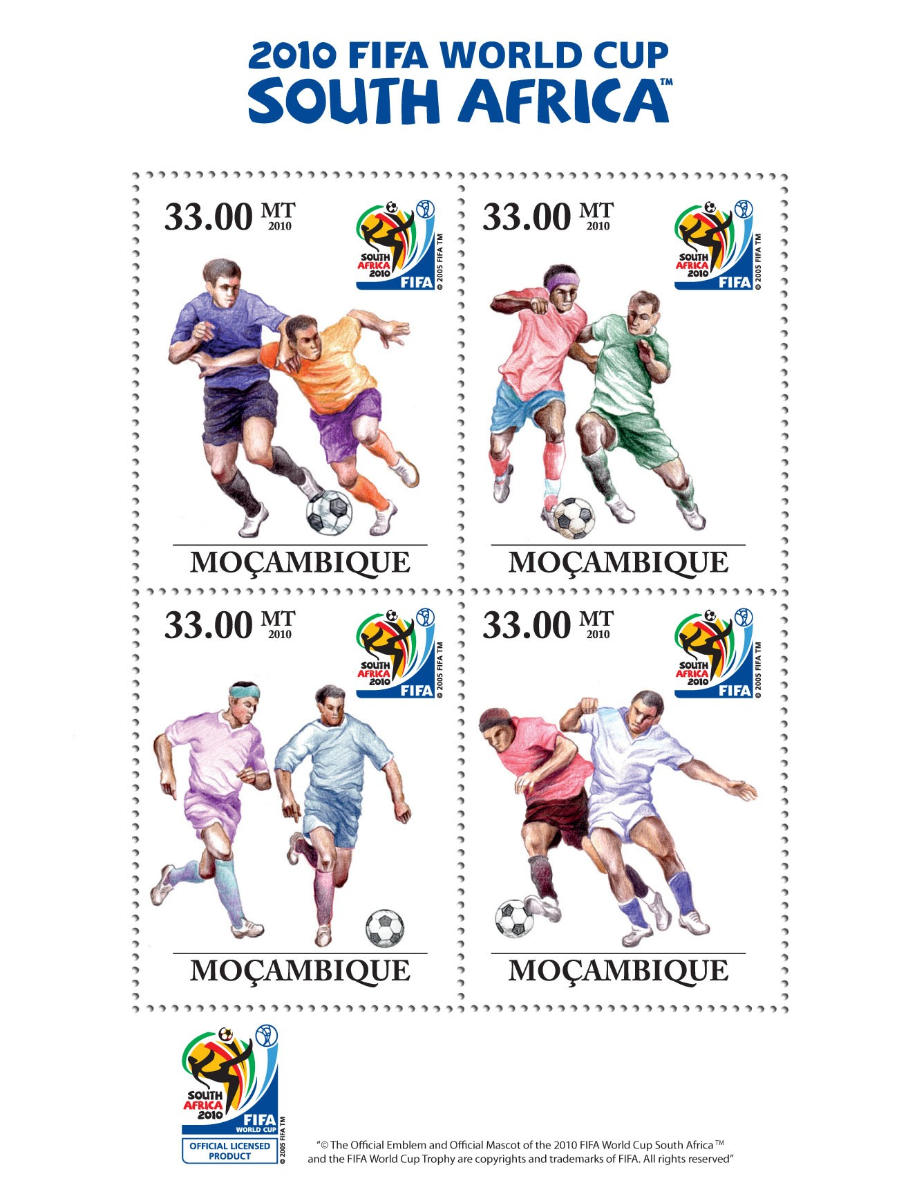 Football - FIFA - Issue of Mozambique postage Stamps