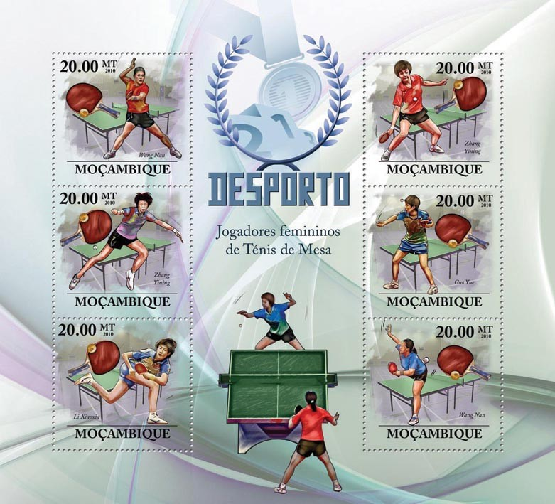 Table Tennis ( Women ), ( W.Nan, Z.Yining, L.Xiaoxia, G.Yue ) - Issue of Mozambique postage Stamps