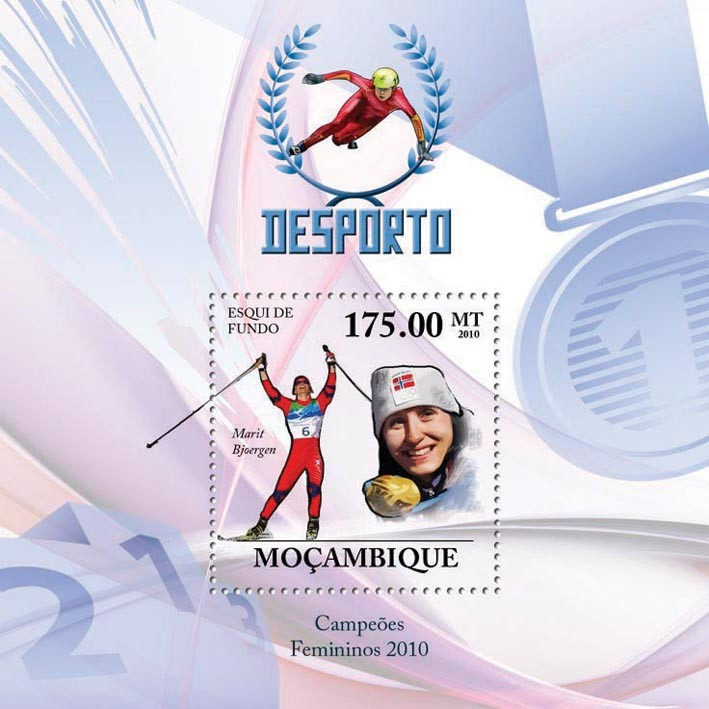 Winter Games ( Women I ), ( Cross-Country Skiing  Marit Bjoergen ) - Issue of Mozambique postage Stamps