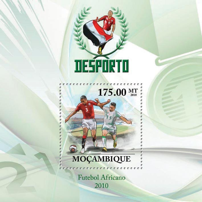 Football Players of Africa 2010 - Issue of Mozambique postage Stamps