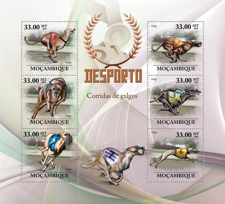Greyhound Racing ( Dogs ) - Issue of Mozambique postage Stamps