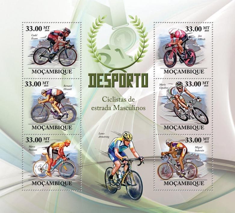 Road Bicycles Racing, ( C.Evans, B. Hinault, M.Pantani, J.Ullrich, M.Cipolllini, M.Indurian ) - Issue of Mozambique postage Stamps