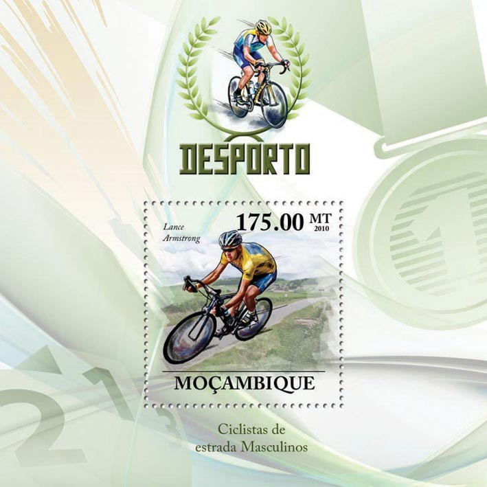Road Bicycles Racing, ( Lance Armstrong ) - Issue of Mozambique postage Stamps