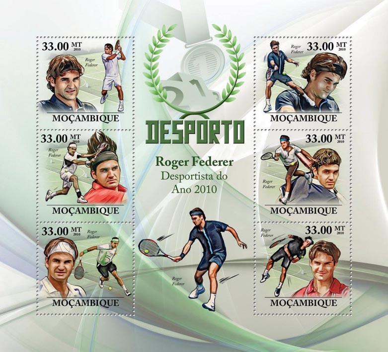 Roger Federer, ( Lawn Tennis ) - Issue of Mozambique postage Stamps