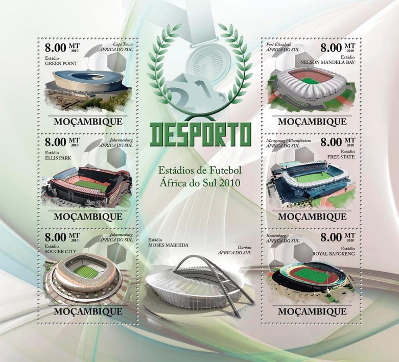 Football Stadiums of South Africa 2010, ( Green Piont, Ellis Park, Coccer City, N.Mandela Bay, Free State, Royal Bafokeng ) - Issue of Mozambique postage Stamps