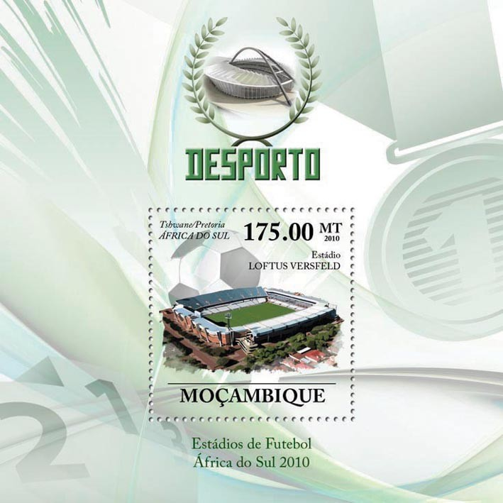 Football Stadiums of South Africa 2010, ( Loftus Versfeld ) - Issue of Mozambique postage Stamps