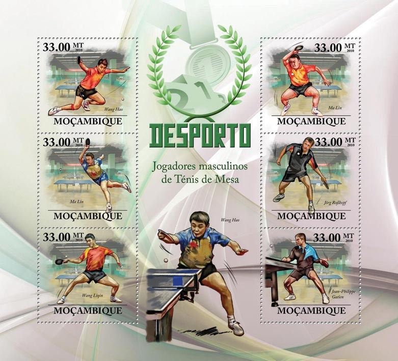 Table Tennis (Men), (W.Hao, M.Lin, W.Ligin, J.Rosskopf, J.P.Gatien) - Issue of Mozambique postage Stamps