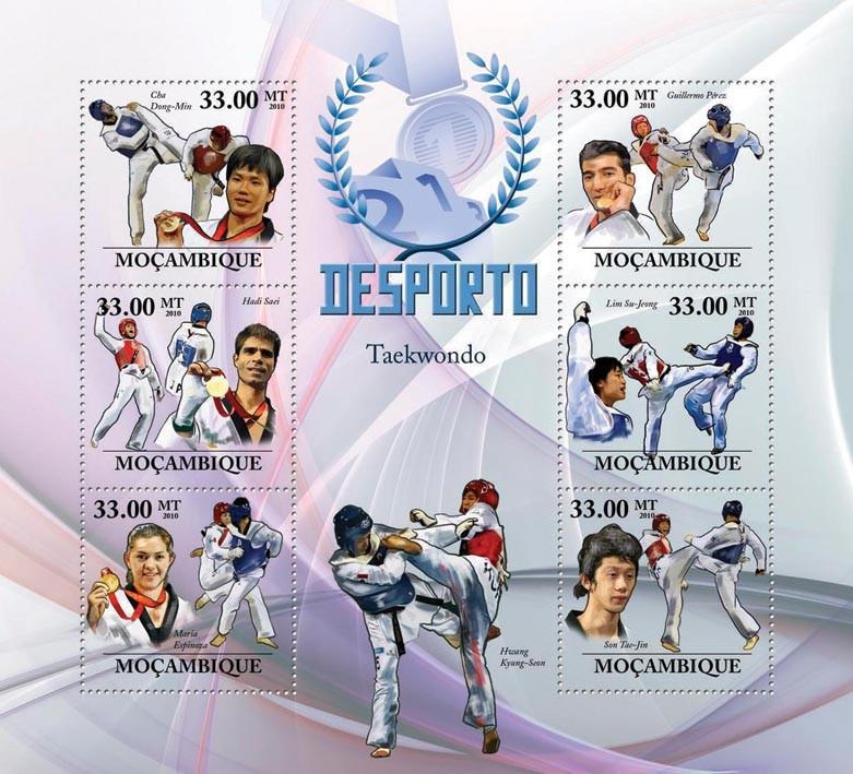 Taekwondo, (C.D.Min, H.Saei, M.Espinoza, G.Perez, L. Su-Jeong, S.Tae-Jin) - Issue of Mozambique postage Stamps