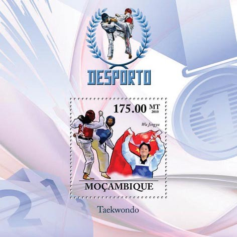 Taekwondo, ( Wu Jingyu ). - Issue of Mozambique postage Stamps