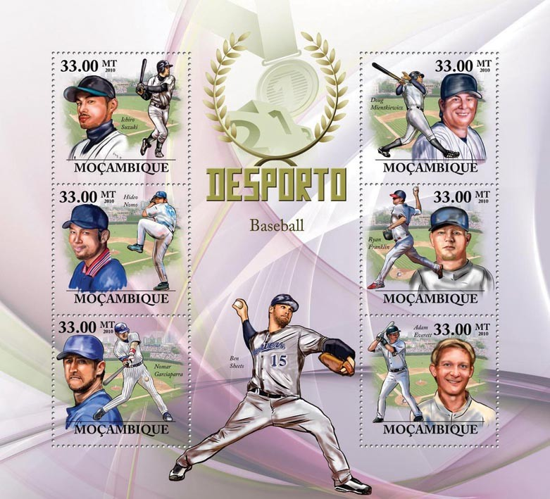 Baseball, (I.Suzuki, H.Nomo, N.Garciaparra, D.Mientkiewicz, R.Franklin, A.Everett) - Issue of Mozambique postage Stamps