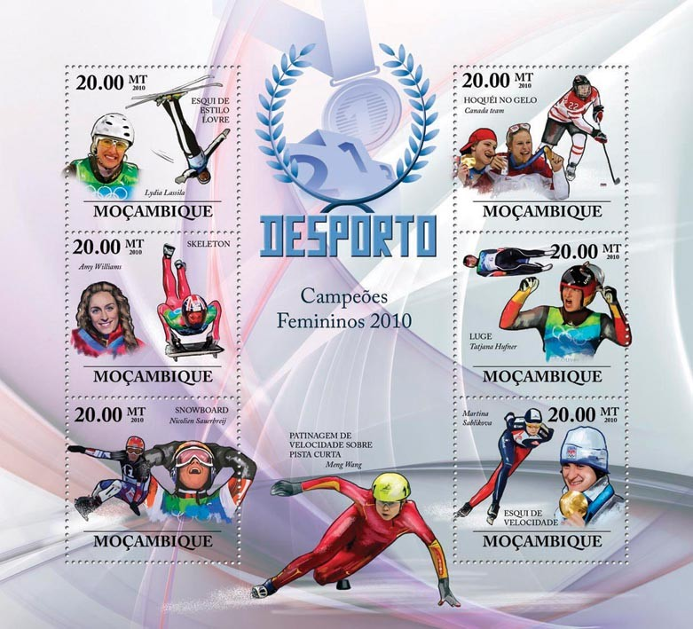 Winter Games (Women II), (Ski Freestyle, Skeleton, Snowboard, Ice Hockey, Luge, Speed Skating) - Issue of Mozambique postage Stamps