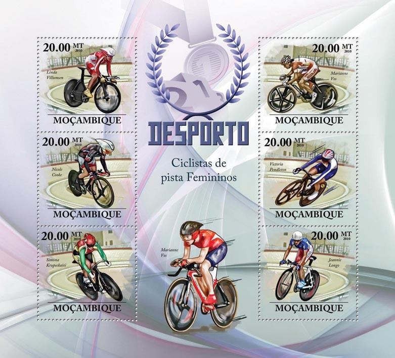 Track Cycling Racers, (L.Villumsen, N.Cooke, S.Krupeckaite, M.Vos, V.Pendelton, J.Longo) - Issue of Mozambique postage Stamps