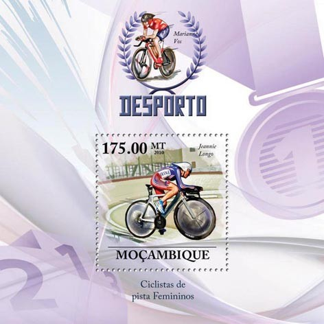 Track Cycling Racers, ( Jeannie Longo). - Issue of Mozambique postage Stamps