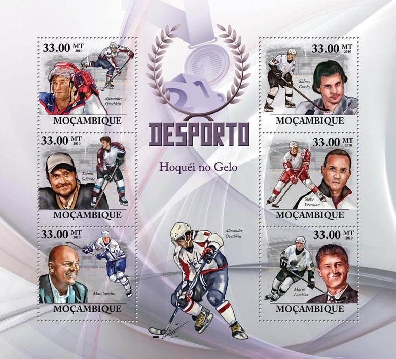 Ice Hockey,  (A.Ovechkin, T.Selanne, M.Sundin, S.Crosby, S.Yzerman, M.Lemieux) - Issue of Mozambique postage Stamps