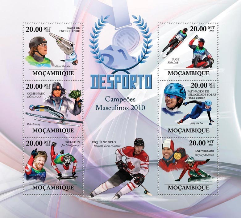 Winter Games (Men II),  (Ski Freestyle, Nordic combined, Skeleton, Luge, Speed Skating, Snowboard) - Issue of Mozambique postage Stamps