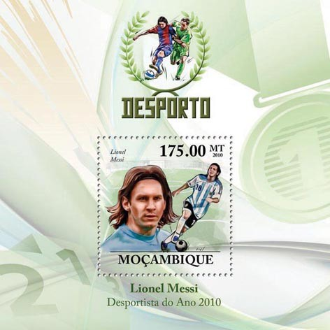 Best Football Player 2010,   (Lionel Messi) - Issue of Mozambique postage Stamps