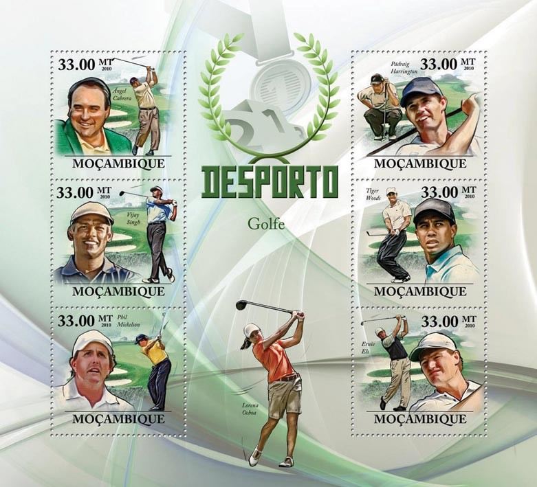 Golf, ( A.Cabrera ... Ernie Els ). - Issue of Mozambique postage Stamps