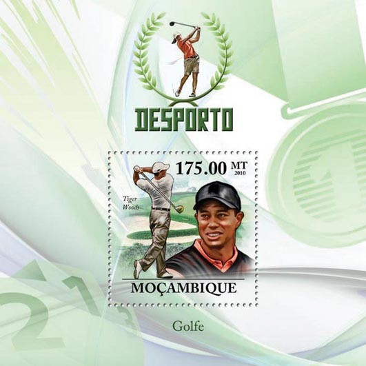 Golf, ( Tiger Woods ). - Issue of Mozambique postage Stamps