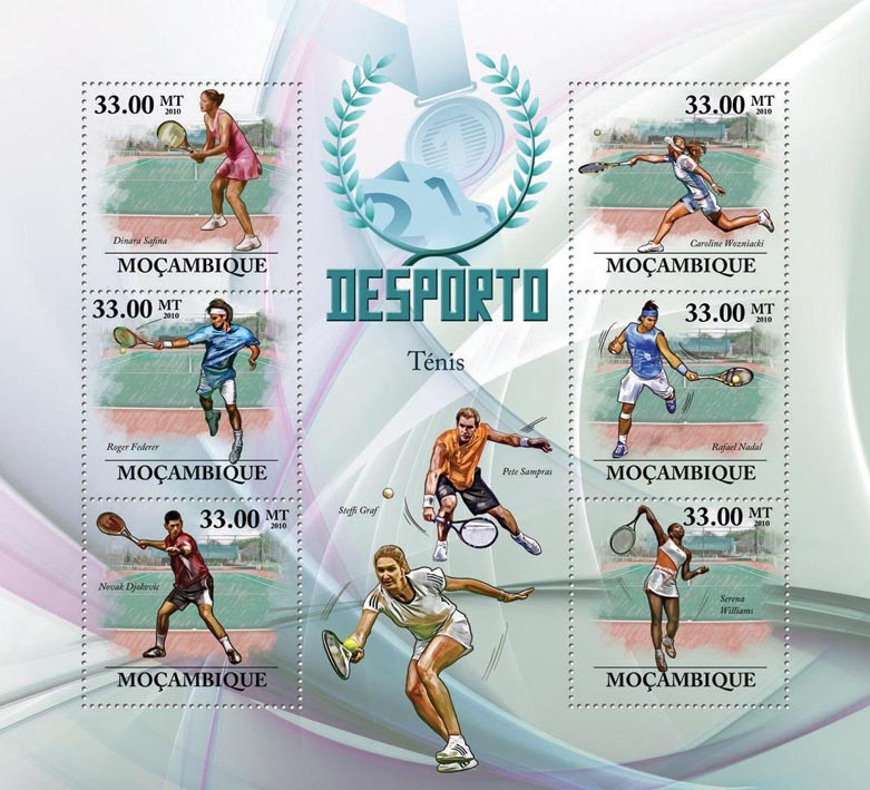 Lawn Tennis,  ( R.Federer, R.Nadal, N.Djokovic, S.Wiliams, D.Safina ). - Issue of Mozambique postage Stamps