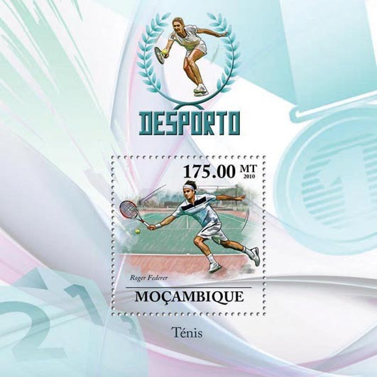 Lawn Tennis, ( Roger Federer ). - Issue of Mozambique postage Stamps