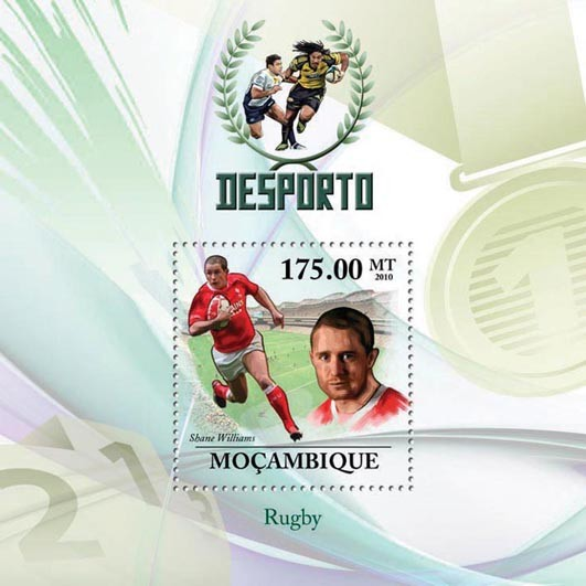 Rugby, ( Shane Williams ). - Issue of Mozambique postage Stamps