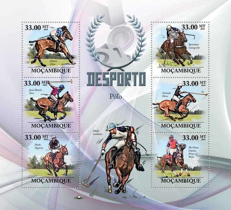Polo, ( H.Ulloa ... Carlos ). - Issue of Mozambique postage Stamps