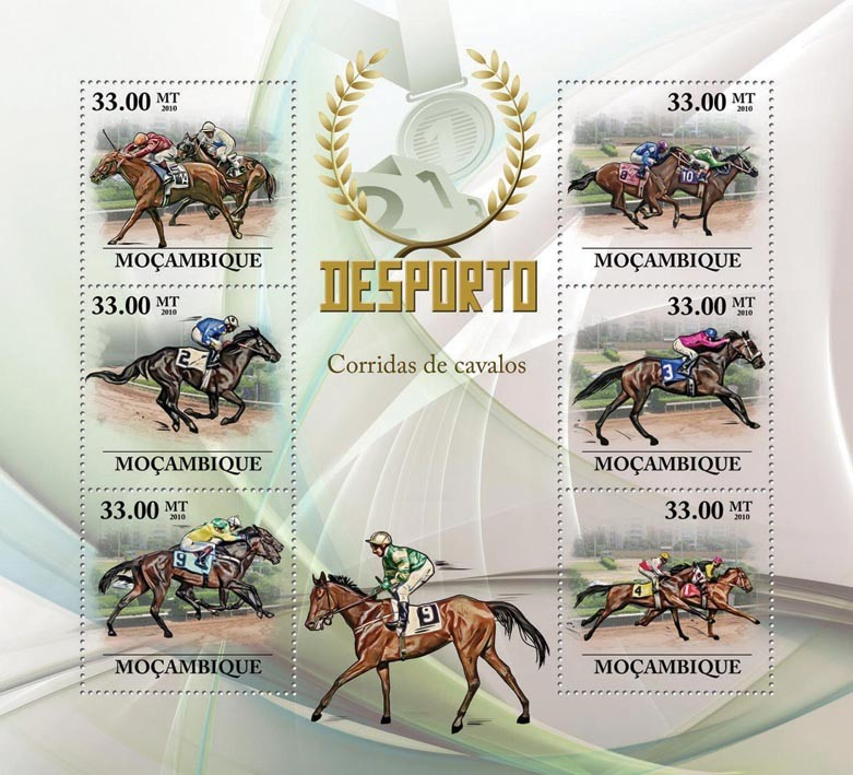 Horse Racing, - Issue of Mozambique postage Stamps