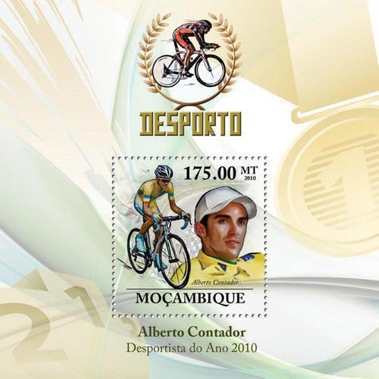 Cycling, ( Alberto Contador ). - Issue of Mozambique postage Stamps