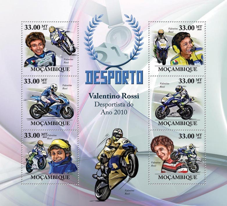 Motorcycling, (Valentino Rossi). - Issue of Mozambique postage Stamps